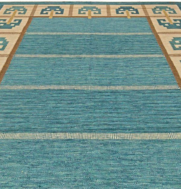 Vintage schwedische Flachgewebe Teppich Signed (W) BB5845