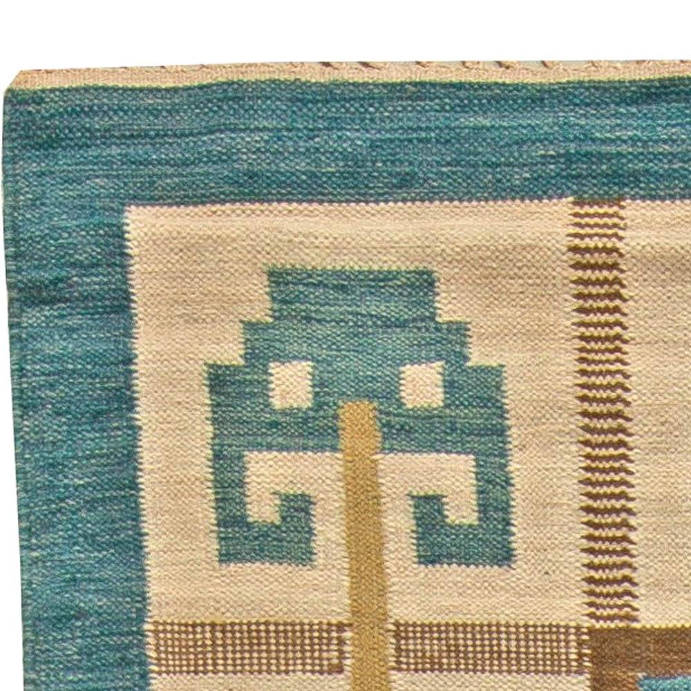 Vintage Swedish Flat weave Rug Signed (W) BB5845