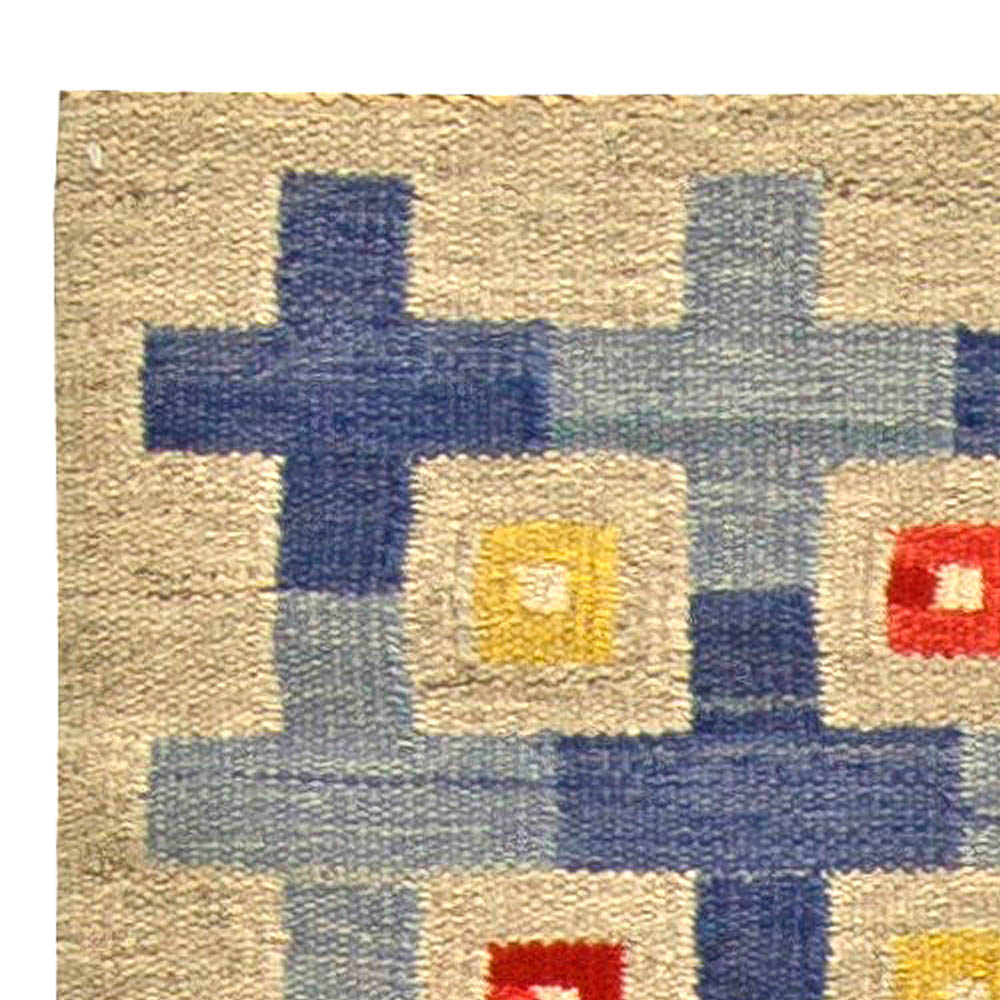 Midcentury Swedish Blue, Red, Yellow & Beige Flat-Woven Wool Rug BB5802