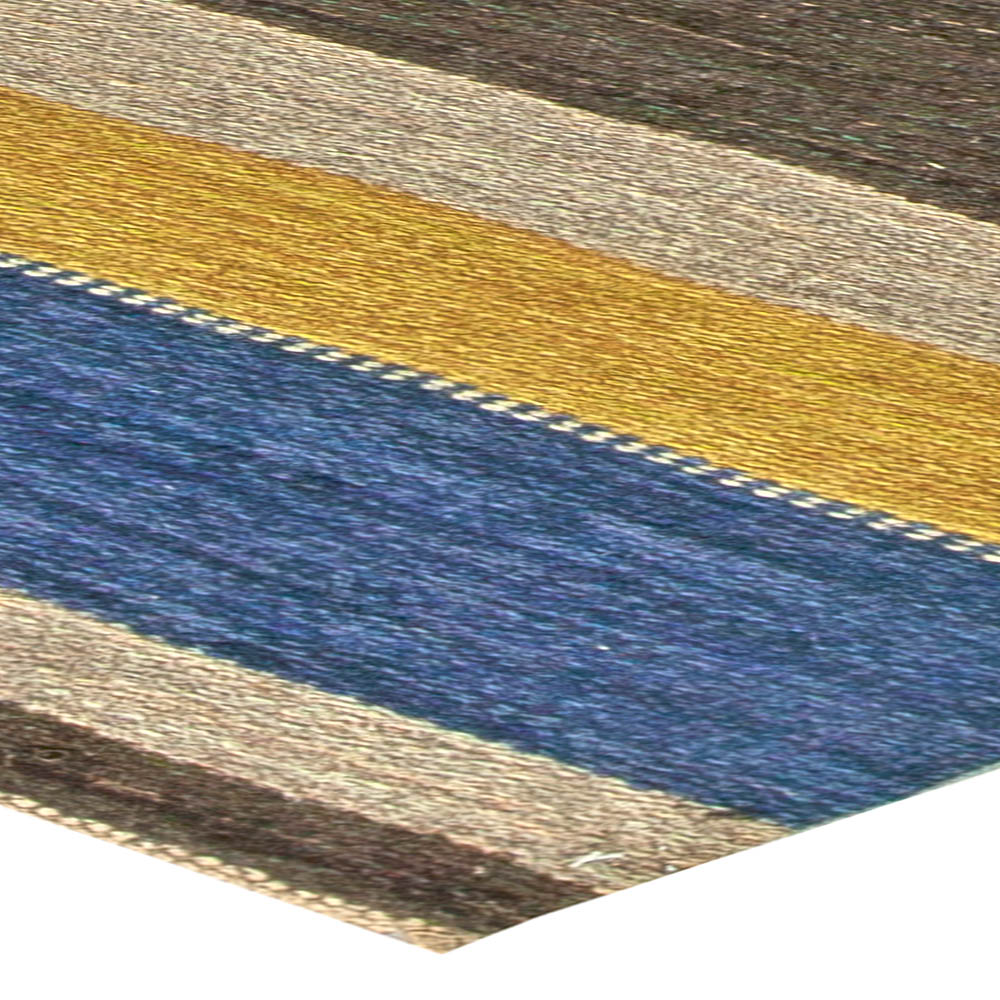 Mid-century Swedish Blue, Yellow, Brown and Green Flat-Weave Wool Rug BB5826