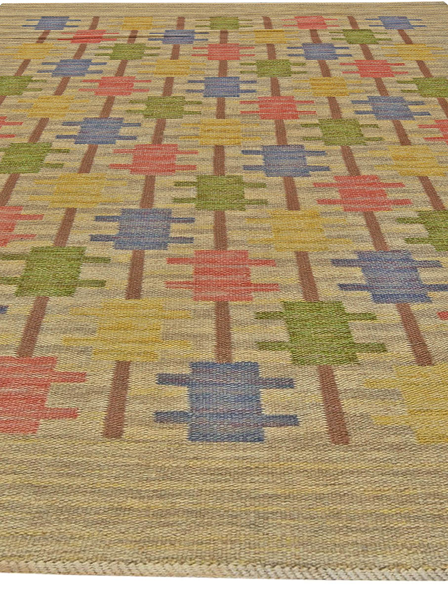 Vintage Swedish Blue, Green, Red and Gray Flat-Woven Wool Rug BB5840
