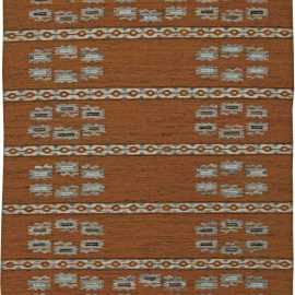 Swedish Flat-Weave Wool Rug in Shades of Copper and Light Blue BB5905