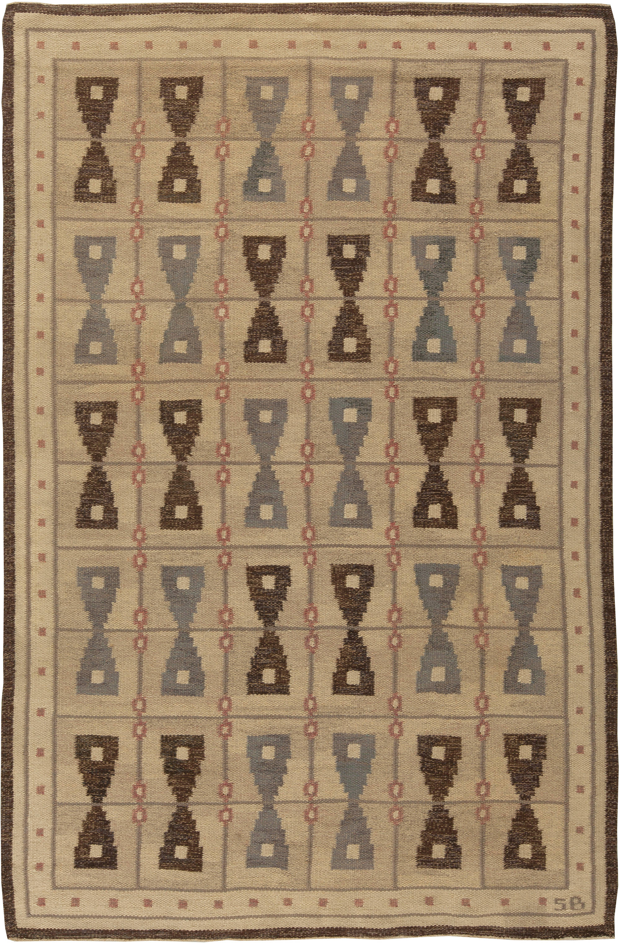 Vintage Swedish Flat Weave Rug BB5455
