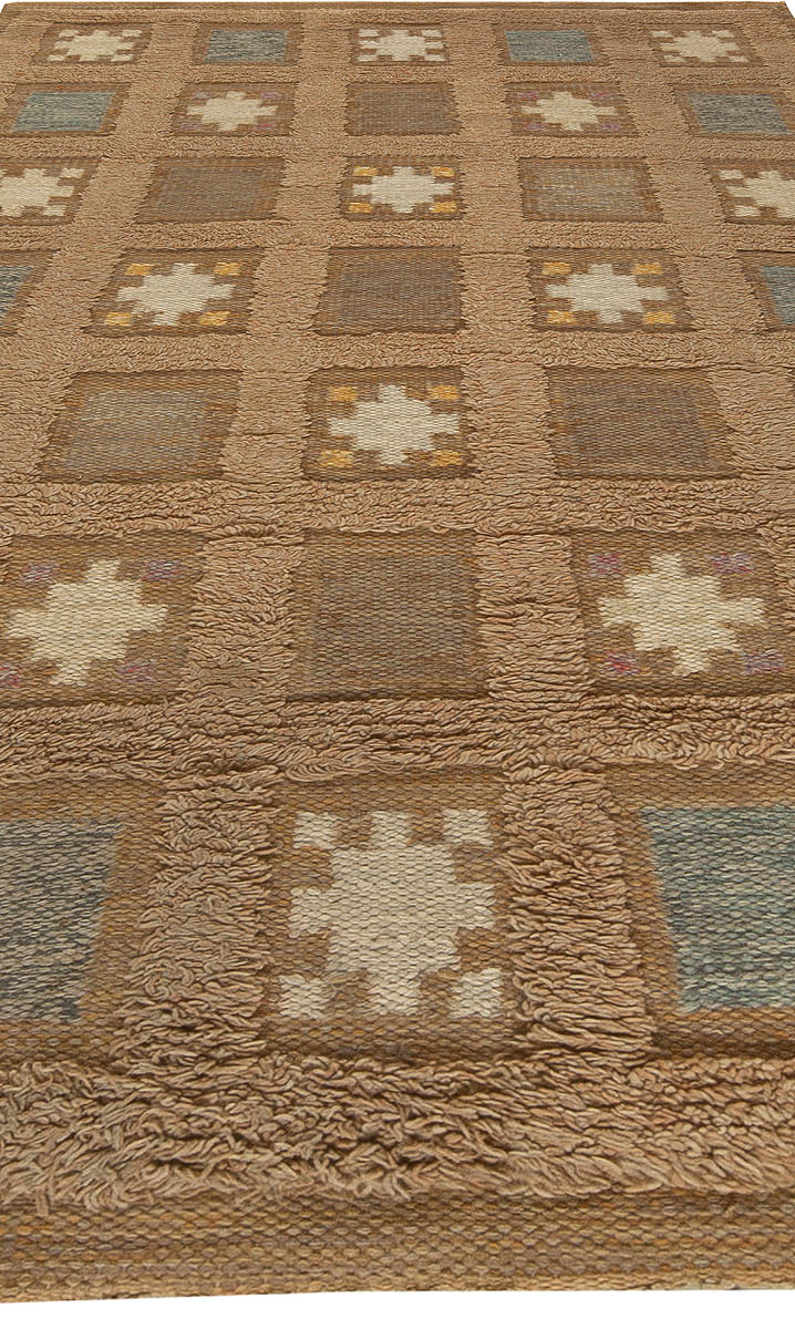 Swedish Handmade Wool Pile Rug in Dark Beige, Blue and Yellow BB5456