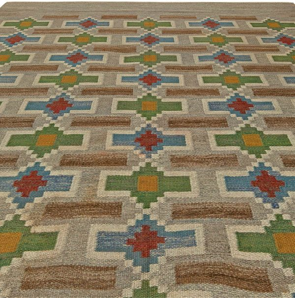Vintage Swedish Flat Weave Rug by Judith Johansson BB5906