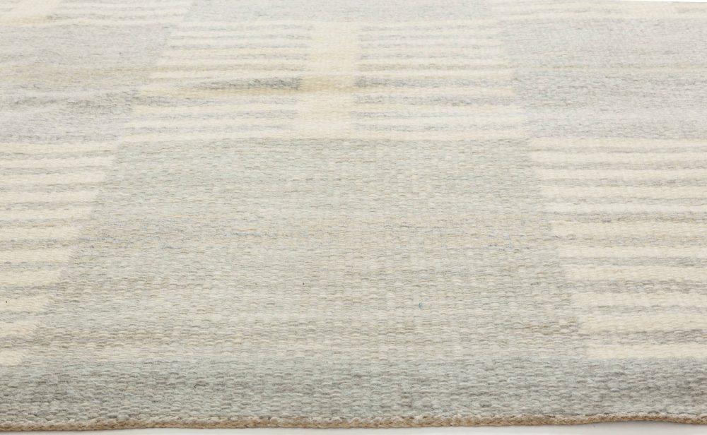 Swedish Gray, Blue and Cream Flat-Weave Wool Rug by Carl Malmsten BB6351