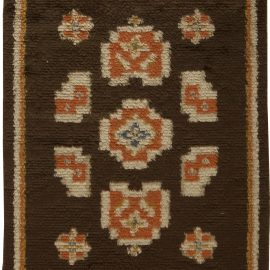 Mid-century Swedish Brown, Orange & Blue Pile Rug BB5496