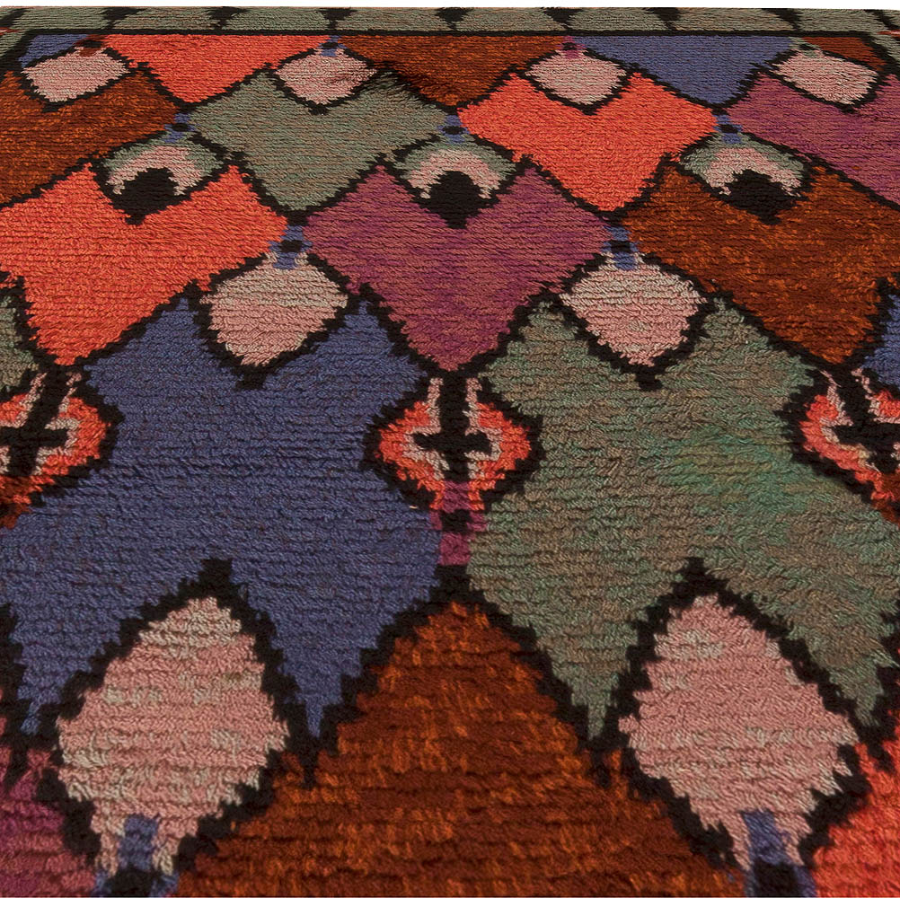 Swedish Red, Brown, Pink, Blue and Green Handwoven Wool Pile BB5498
