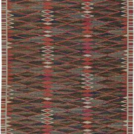 Swedish Midcentury Red, Brown, Blue & White Flat-Weave Rug BB5468