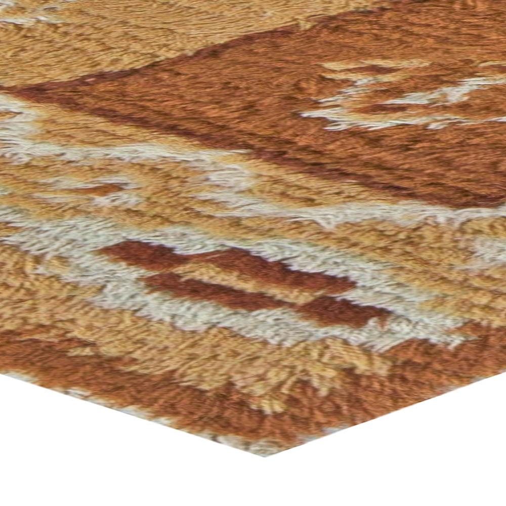 Midcentury Swedish Pile Dark and Light Brown Wool Rug BB5501