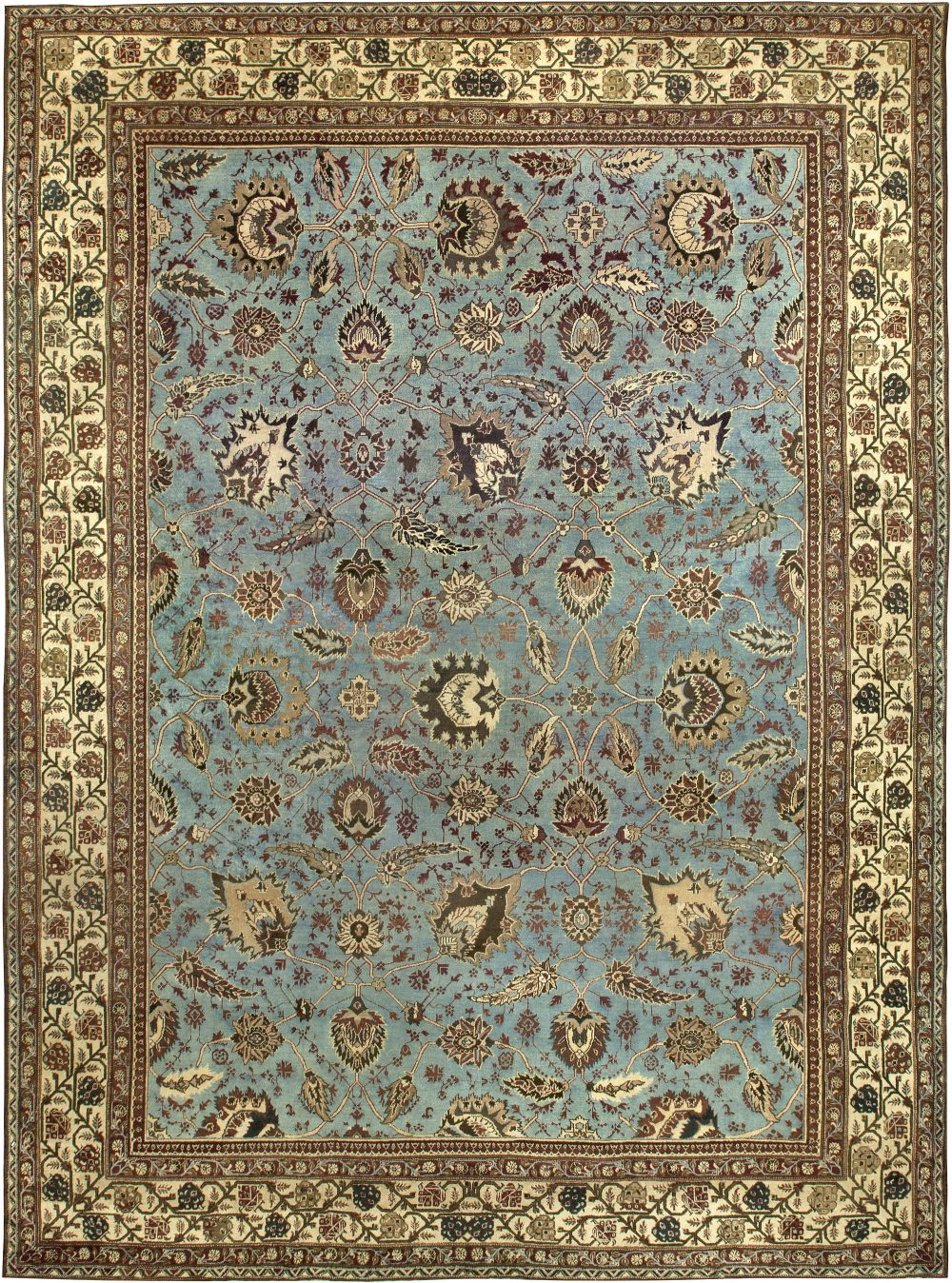 Large Antique Indian Amritsar Light Blue and Beige Handwoven Rug BB6792