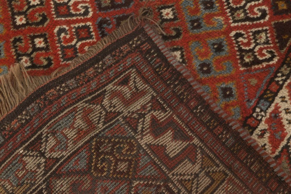 Antique Khamseh South Persian Carmine, White and Black Rug BB6870