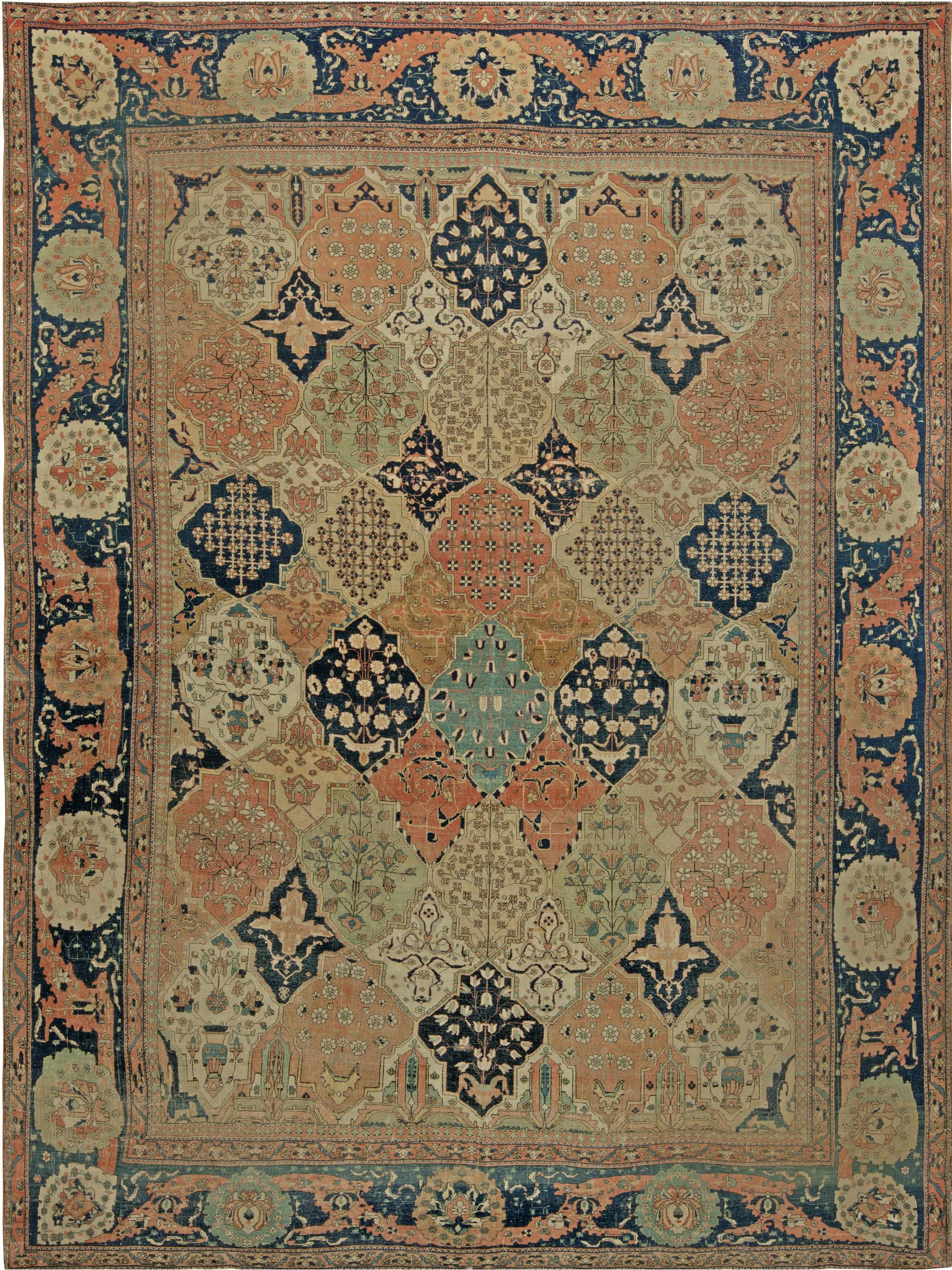 Antique Persian Mohtashem Kashan Rug BB6831