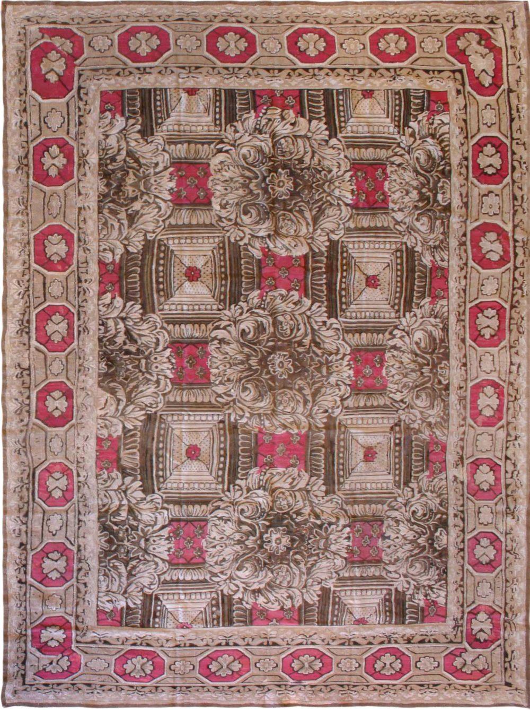 19th Century Ukrainian Rose and Beige Handwoven Wool Carpet BB6692