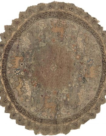 Antique Round Silk & Metal Turkish Rug BB6632