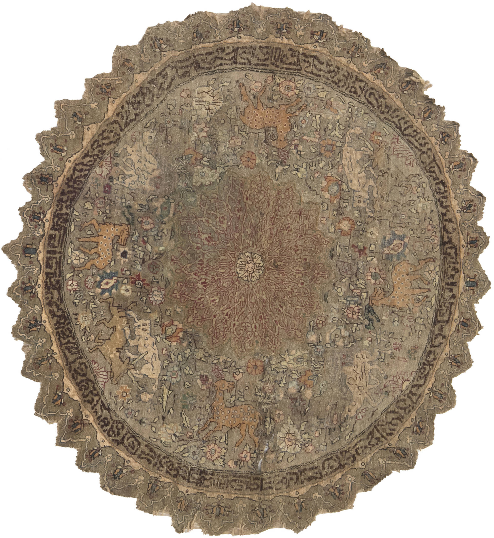 Antique Round Silk & Metal Turkish Rug BB6632