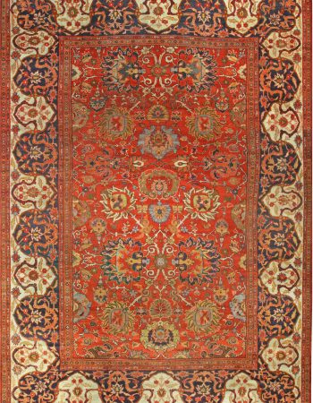 Sultanabad Beige, Blue, Brown, Pink and Red Handwoven Wool Rug BB7145