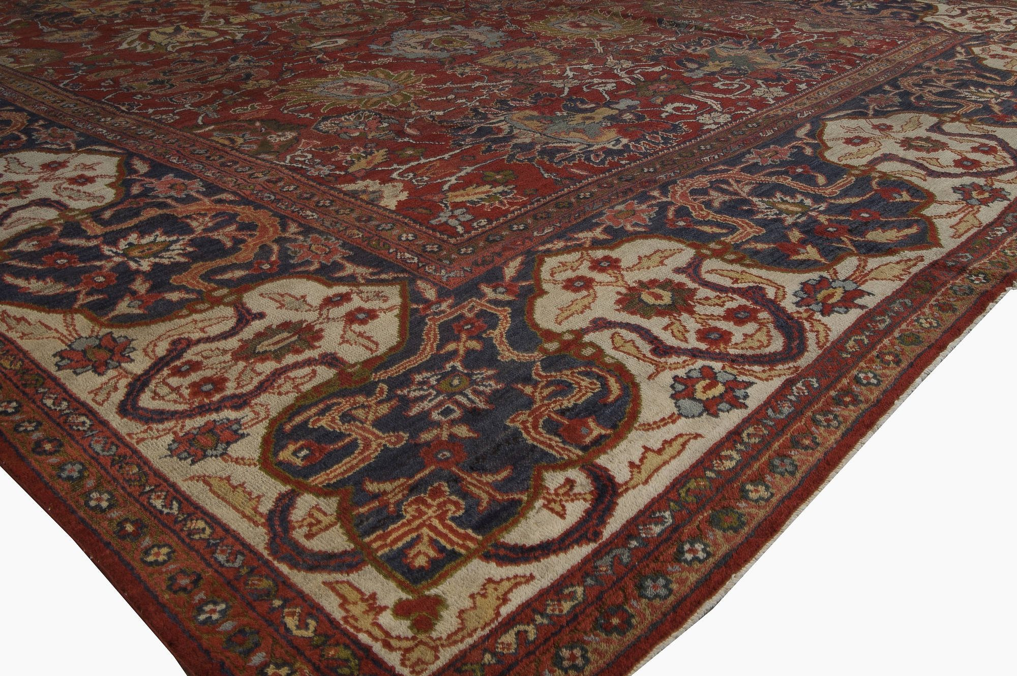 19th Century Persian Sultanabad Red Botanical Handmade Carpet BB6711