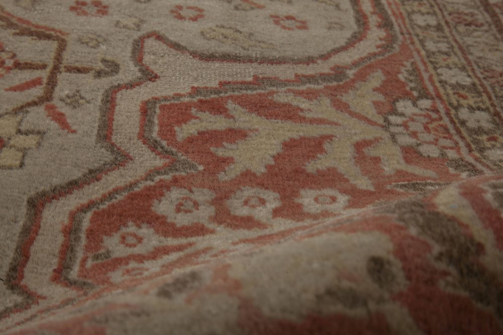 Antique Persian Tabriz Copper, Terracotta and Ivory Rug BB6794