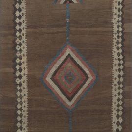 Midcentury Turkish Chocolate Brown Handwoven Wool Kilim Rug BB6909