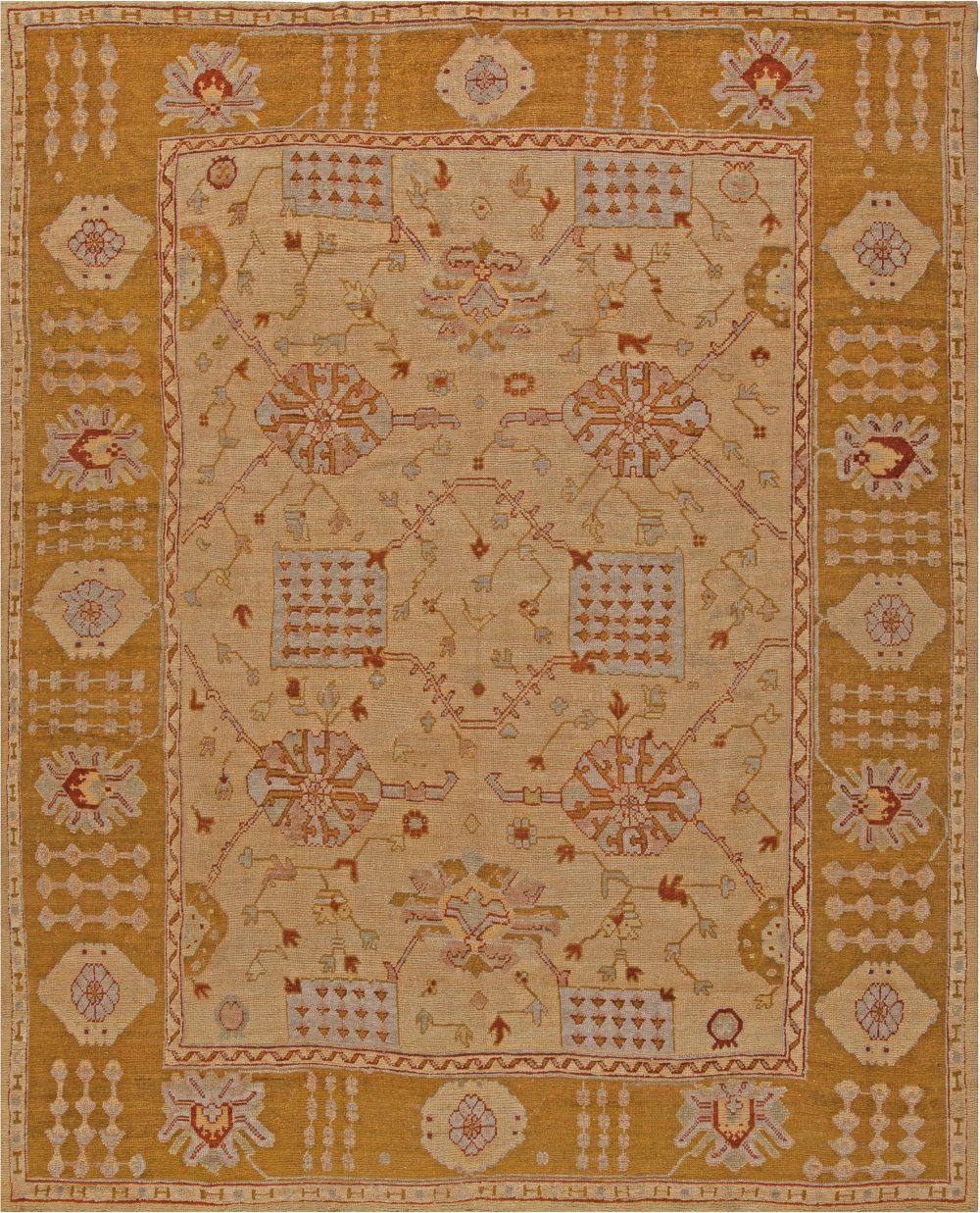Vintage Turkish Oushak Warm Tan and Beige Handwoven Wool Rug BB6816