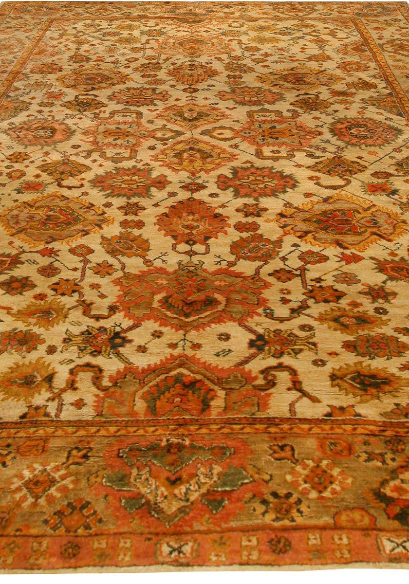 Antique Turkish Oushak Botanic Sand, Orange & Yellow Rug BB6763