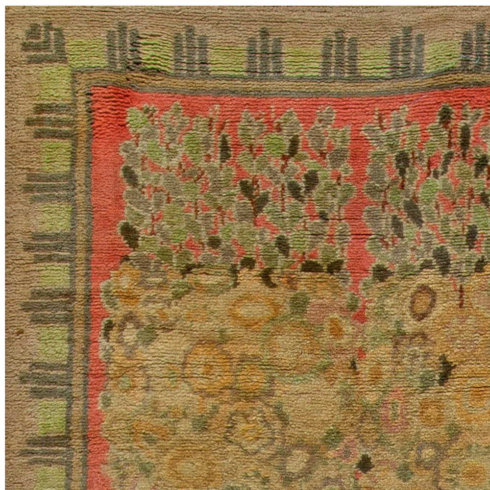 Vintage French Art Deco Handwoven Wool Rug by Paul Follot BB6824