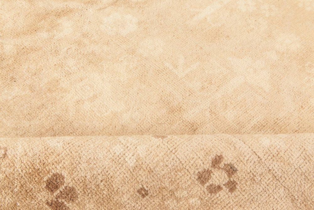 Antique Indian Beige and Chocolate Brown Handwoven Wool Rug BB6616