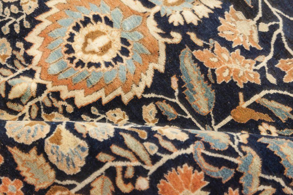 Antique Persian Mohtashem Kashan Orange, Black and Light Blue Wool Rug BB6834