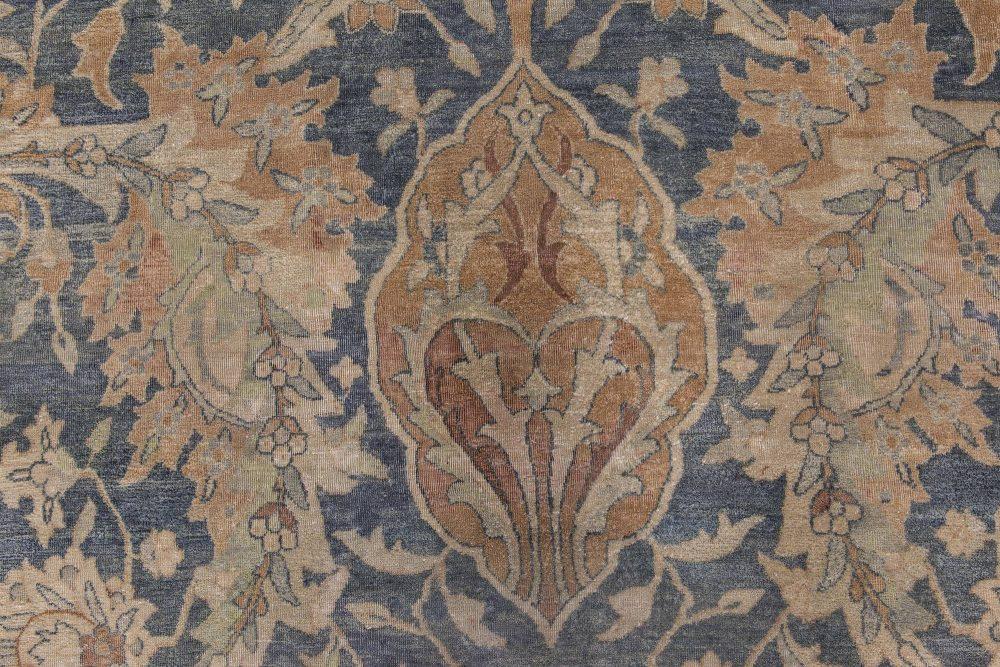 Persian Kirman Indigo, Camel and Ivory Beige Handwoven Wool Rug BB6863
