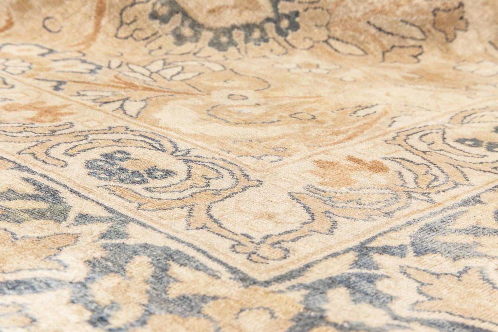 Antique Persian Kirman Cream, Beige and Blue Handwoven Wool Rug BB6613