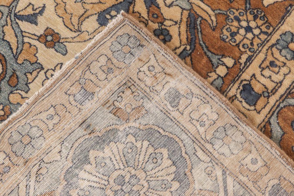 Antique Persian Kirman Brown, Beige and Blue Handwoven Wool Rug BB6600