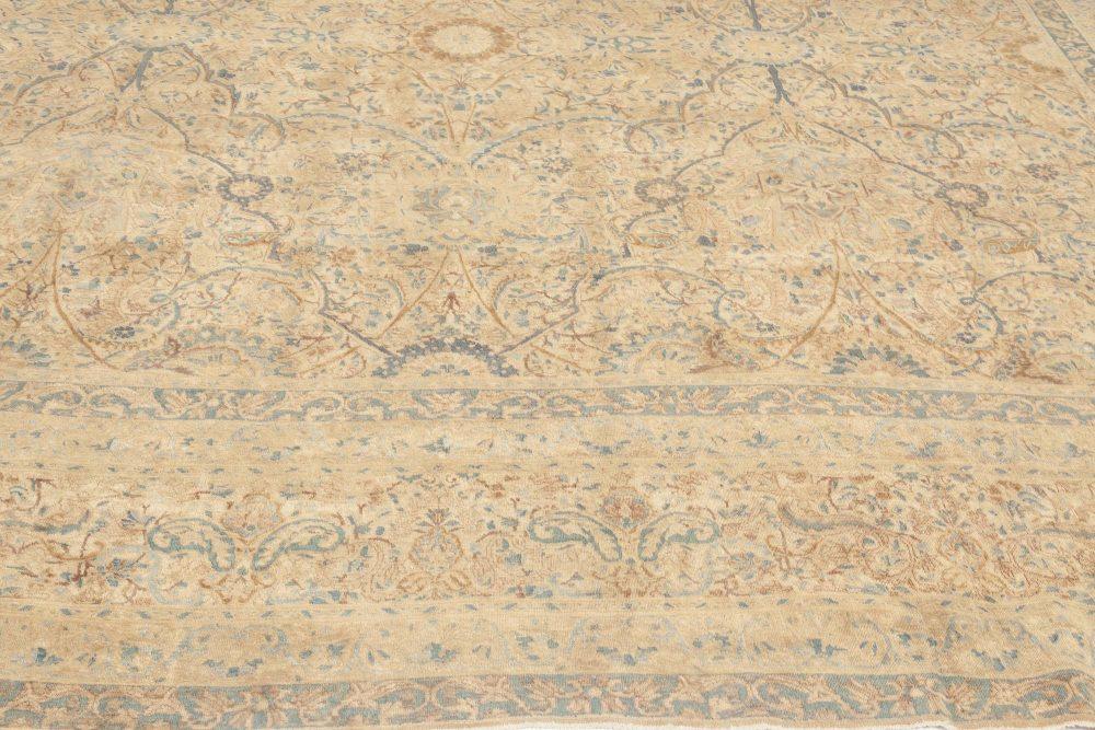 Antqiue Persian Kirman Orange, Beige & Blue Hand-knotted Wool Rug BB6900