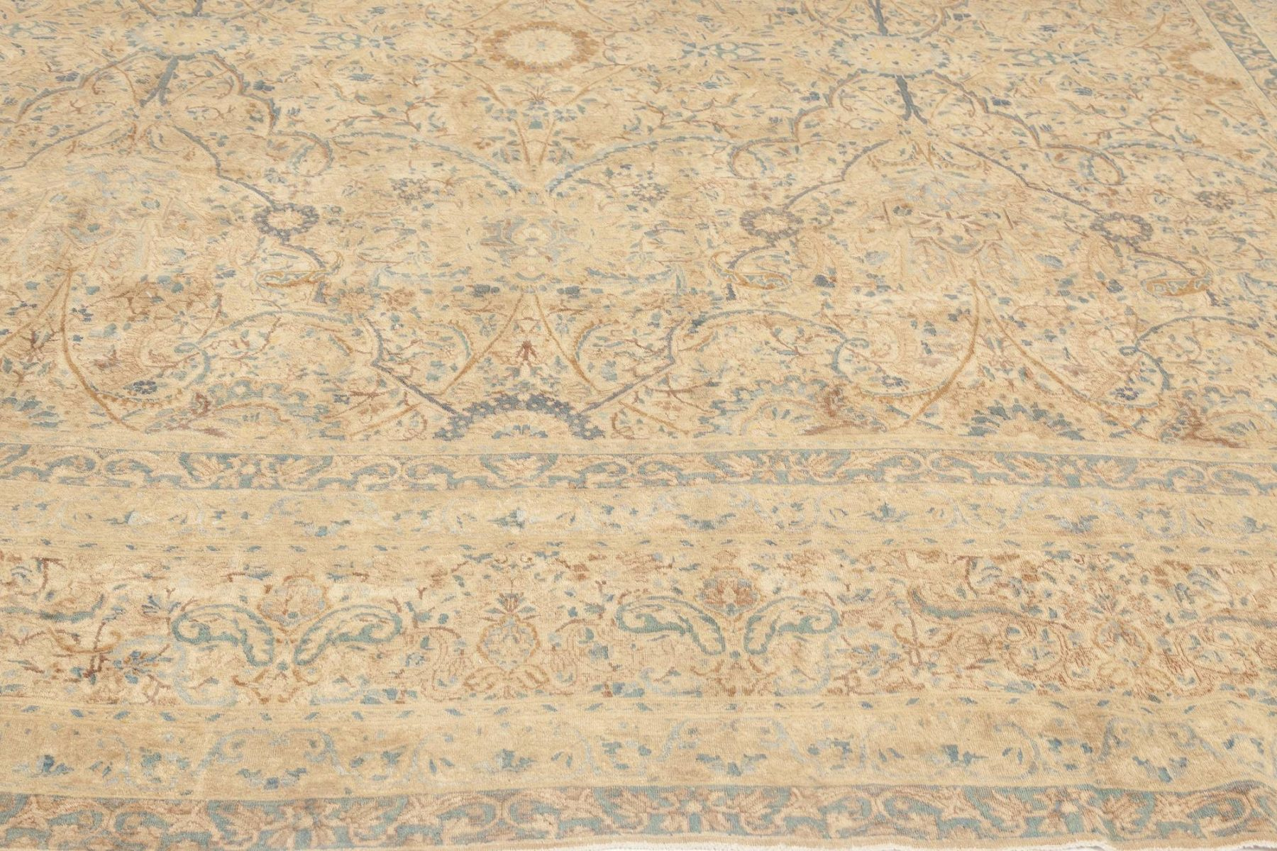 Antqiue Persian Kirman Orange, Beige & Blue Hand-knotted Wool Rug BB6900