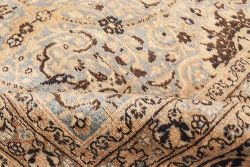Antique Persian Meshad Rug Celadon and Midnight Blue Rug BB6611