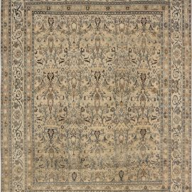 Antique Persian Meshad Beige and Teal Handwoven Wool Rug BB6614