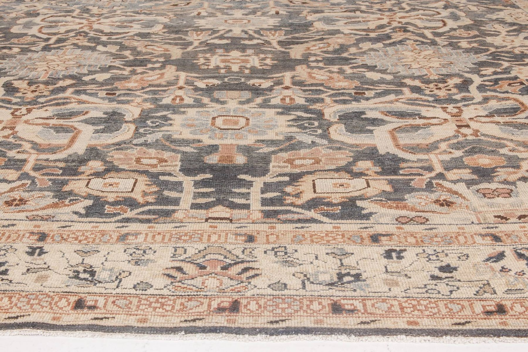 Sultanabad Beige, Gray and Brown Handwoven Wool Rug BB6590