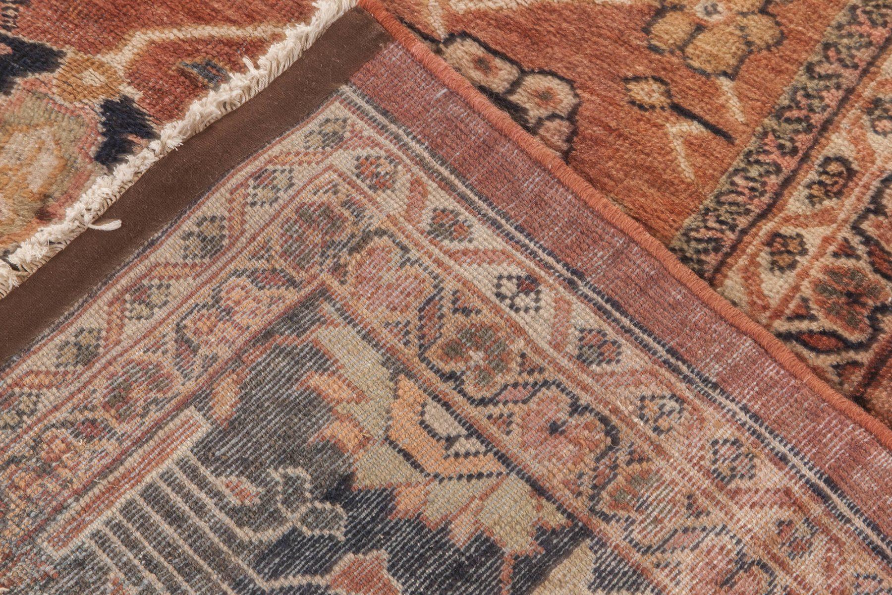 Antique Persian Sultanabad Cinnamon & Navy Blue Handwoven Carpet BB6597