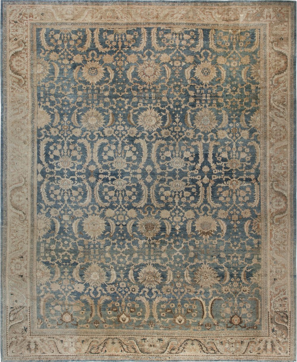 Antique Persian Indigo and Beige Handwoven Wool Sultanabad Rug BB6861