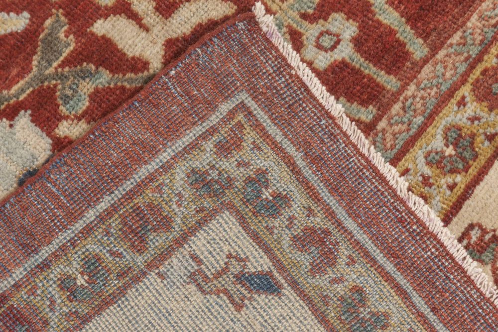Antique Persian Sultanabad Red, White and Blue Handwoven Wool Rug BB6899