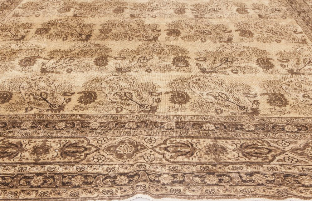 Antique Persian Tabriz Beige and Brown Hand Knotted Wool Rug BB6608