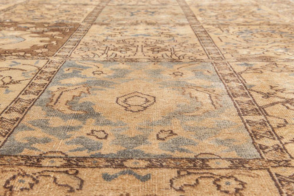 Antique Persian Tabriz Sandy Beige, Brown and Teal Carpet BB6612