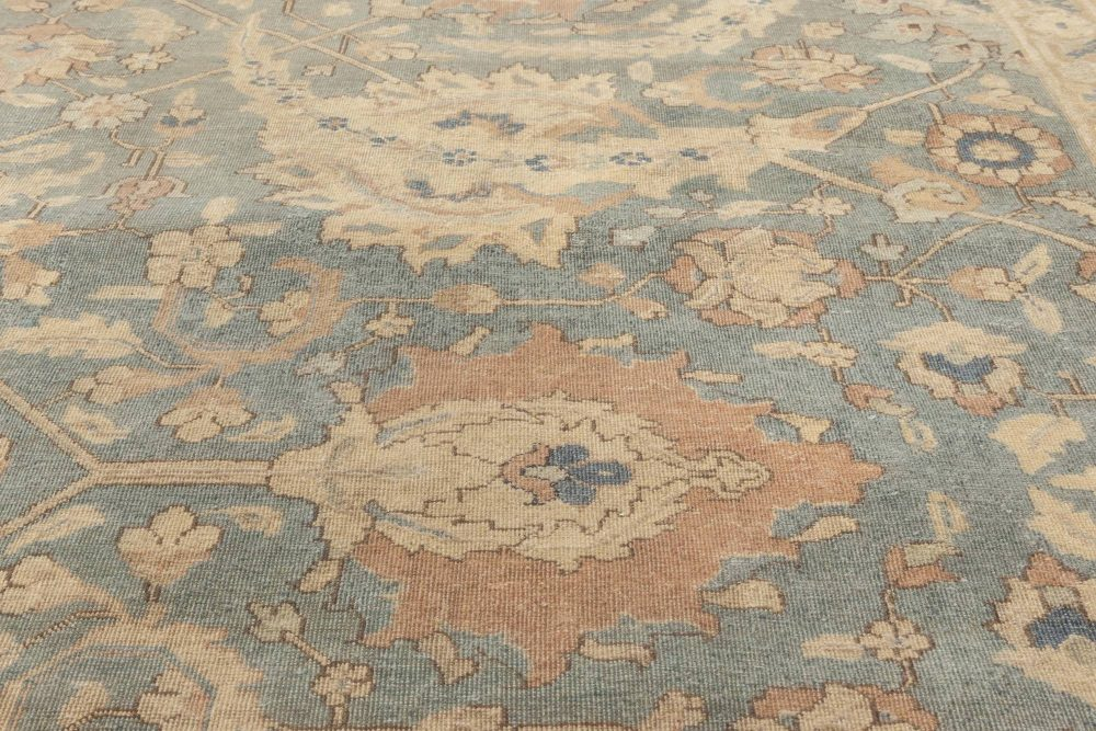 Antique Persian Tabriz Beige and Rosewood Handwoven Wool Rug BB6896