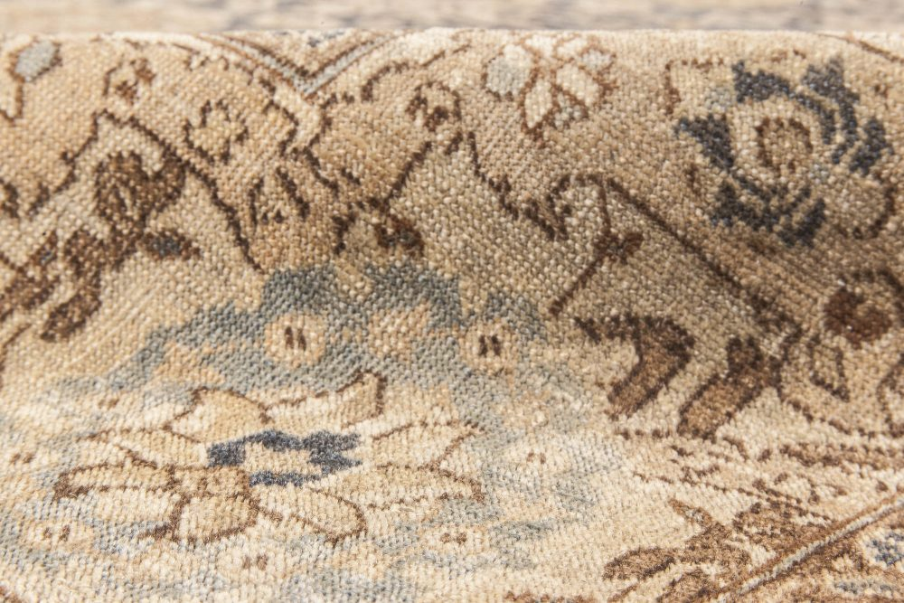 19th Century Persian Tabriz Hand Knotted Rug in Brown and Sandy Beige BB6610