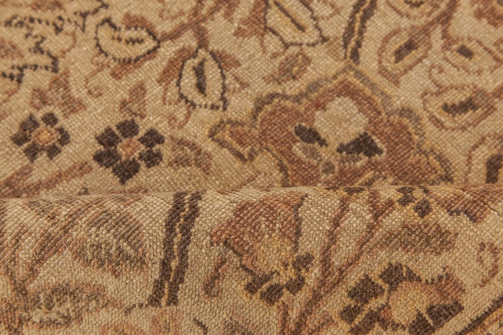 Tabriz Floral Sandy Beige, Sepia and Brown Handwoven Wool Rug BB6623