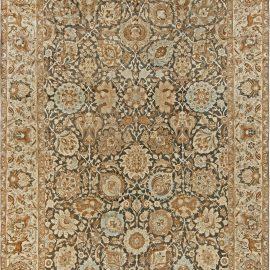 19th Century Persian Tabriz Dark Brown, Beige and Blue Rug BB6800