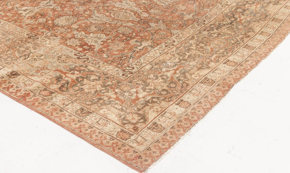 Antique Persian Tabriz Taupe, Camel and Red Hand Knotted Wool Rug BB6592