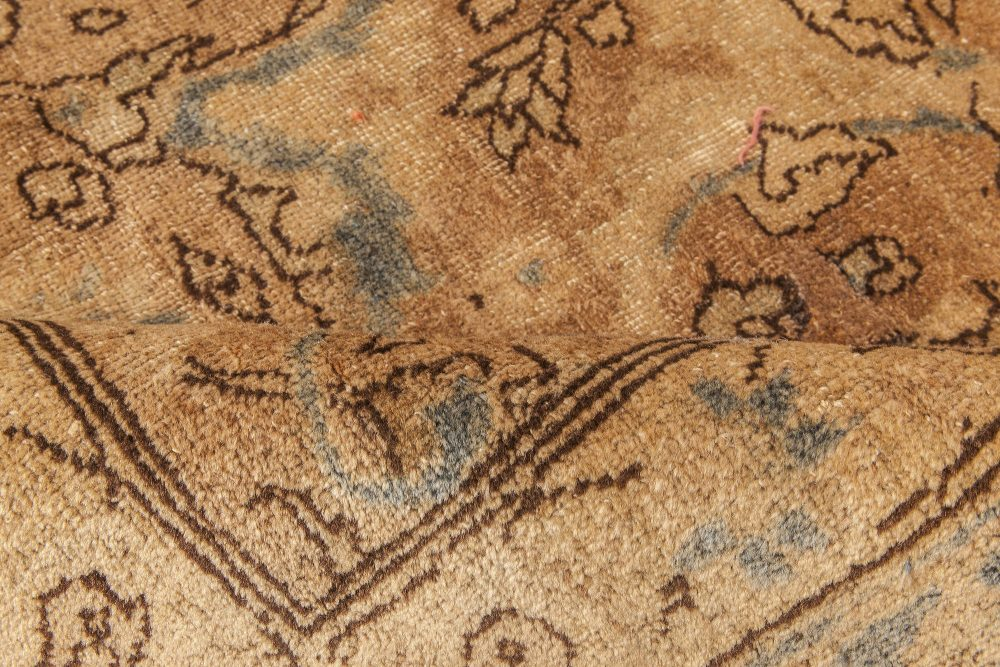 Antique Persian Tabriz Light Brown and Blue Handwoven Wool Rug BB6603