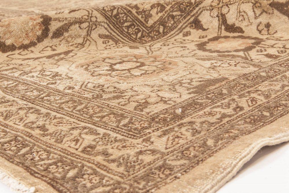 Antique Persian Tabriz Golden Beige & Brown Handwoven Wool Rug BB6599