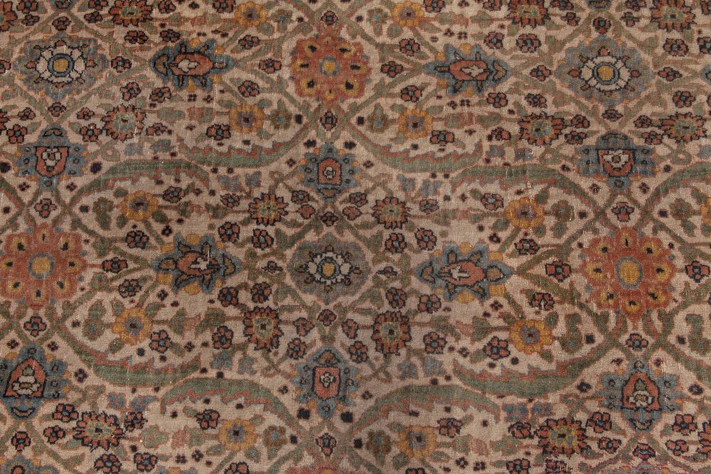 19th Century Persian Tabriz Hand Knotted Wool Rug BB6585